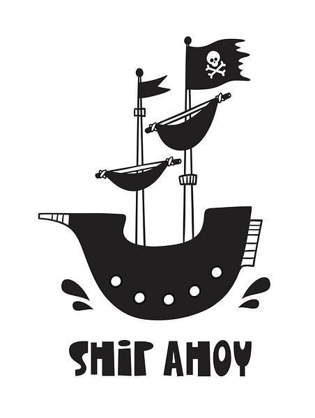 Kinderkamer Zwart Wit - Sea Adventure Ship Ahoy – van AMB-IANCE .com
