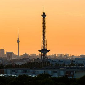 Radiotoren en televisietoren met Berlijnse skyline van Frank Herrmann
