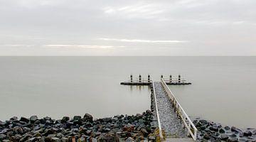 Zonsopgang Afsluitdijk IJsselmeer van Wouter Moné