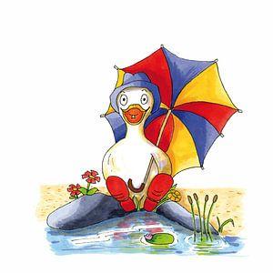 Karikatur einer fröhlichen Ente am Wasser sitzend
