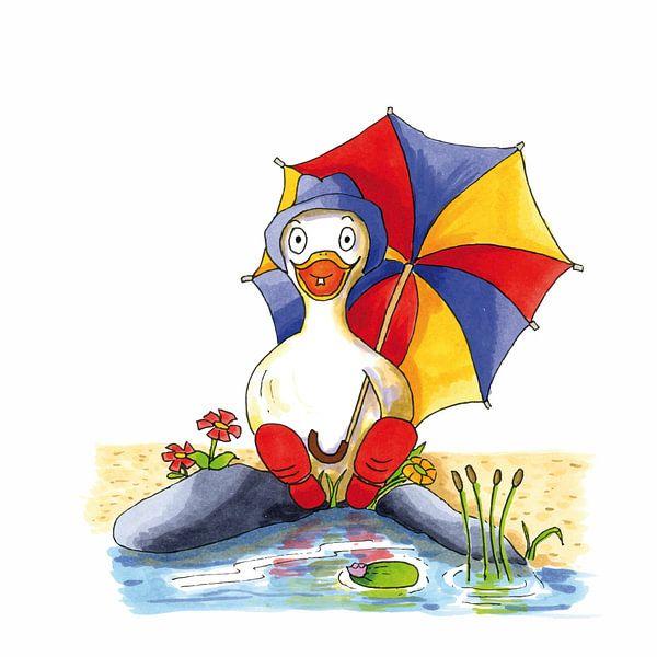 Karikatur einer fröhlichen Ente am Wasser sitzend von Ivonne Wierink