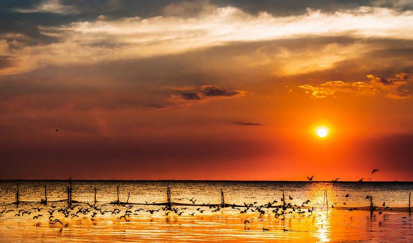 Zonsondergang op het IJsselmeer van Harrie Muis