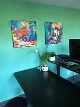 Klantfoto: Kuifje en Bobbie / TinTin van Frans Mandigers, op print op doek