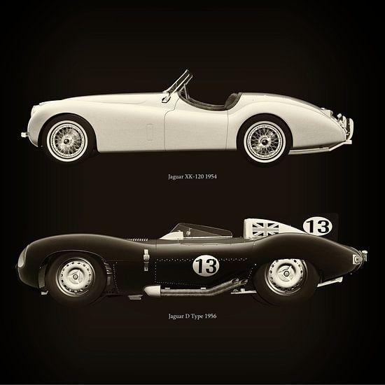 Jaguar XK-120 1954 en Jaguar D Type 1956