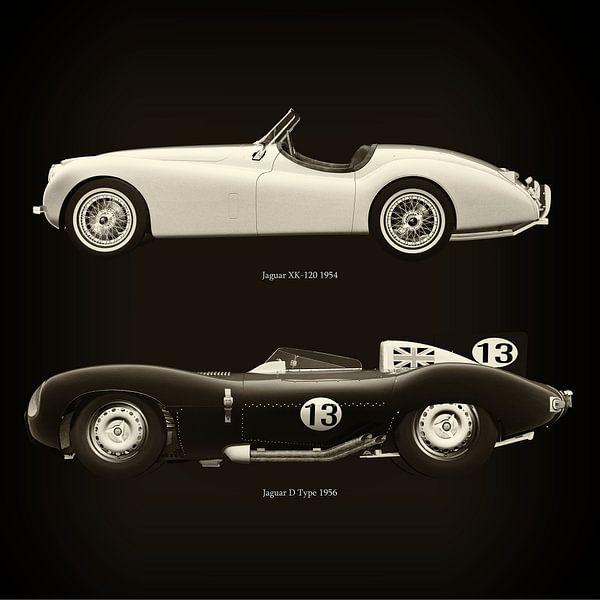 Jaguar XK-120 1954 en Jaguar D Type 1956 van Jan Keteleer