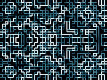Blauwwitte Pixels van Nicky`s Prints