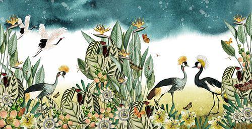 Kraanvogels met tropische planten, botanisch en illustratief