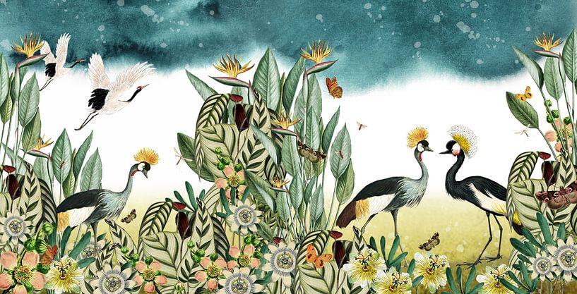 Kraanvogels met tropische planten, botanisch en illustratief van Studio POPPY