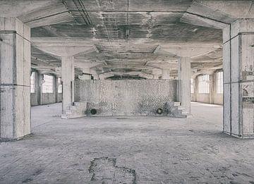 Verlaten plekken: Sphinx fabriek Maastricht Eiffelgebouw kolommen en bassin.. sur Olaf Kramer