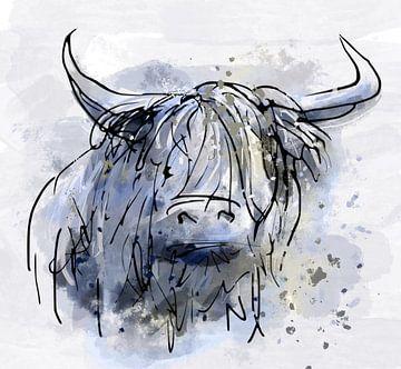 Schottischer Highlander - blau von Emiel de Lange