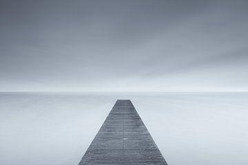 Ins Nichts - ein kalter Morgen an einem nebligen Herbsttag am See von Bas Meelker