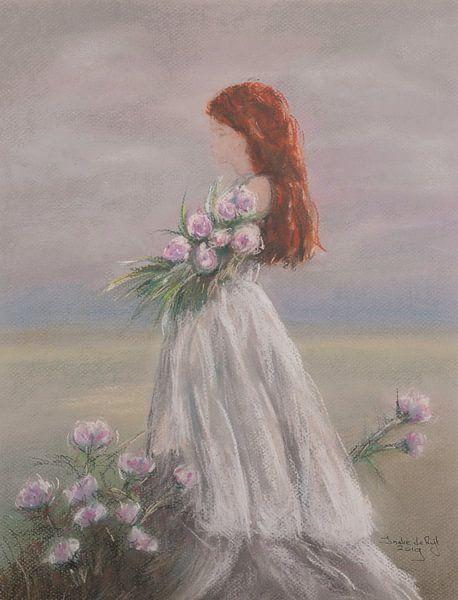 Bloemen plukken op een mooie zomerse dag. van Ineke de Rijk