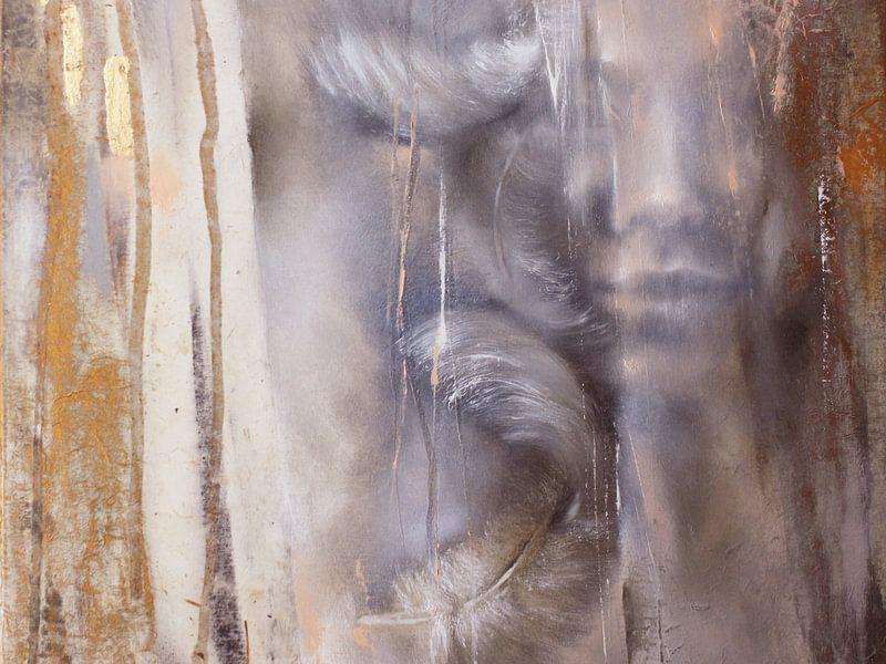 Cora mit Federn: Variante in Grauviolett von Annette Schmucker