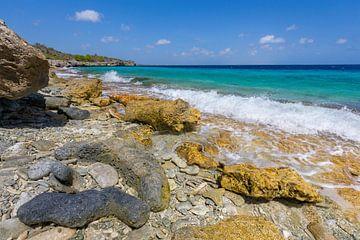 Landschaft mit Felsen und Geröll an der Küste von Bonaire von Ben Schonewille
