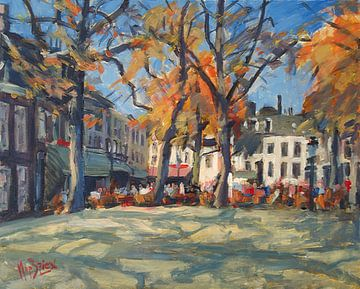 La place OLV dans la chaude lumière d'automne avec ses terrasses sur Nop Briex
