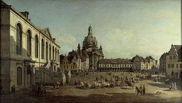 Bernardo Bellotto ou Canaletto, Vue du Jüdenhof sur le Neumarkt de Dresde - 1749 sur Atelier Liesjes