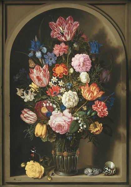 Boeket van bloemen in een stenen nis, Ambrosius Bosschaert van Meesterlijcke Meesters