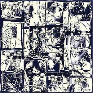 Collage van een dag leven in zwart wit  van