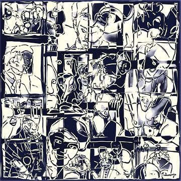 Collage van een dag leven in zwart wit  sur