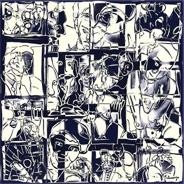 Collage van een dag leven in zwart wit  van Henk van Os