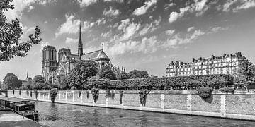 PARIS Kathedrale Notre-Dame | Panorama Monochrom von Melanie Viola