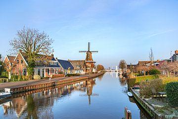 Molen van Burdaard in de vroege ochtend, in Friesland
