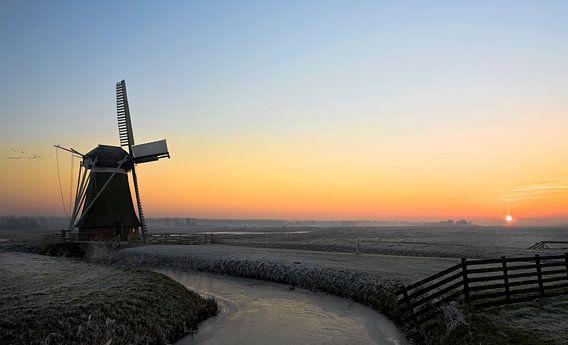 Windmolen nabij Hoeksmeer, Nederland van Peter Bolman