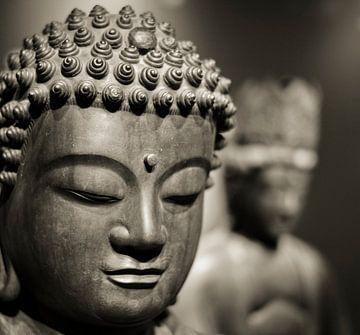 Hoofd van een stenen Buddha beeld in sepia von Rob van Keulen