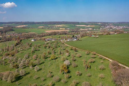 Luchtfoto van de Bellet Boomgaard bij Cottessen in Zuid-Limburg