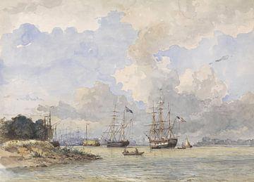 Maas voor Rotterdam, met een Amerikaans en Zweeds schip, Willem Anthonie van Deventer sur