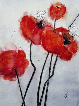 Poppy Schilderij - Red Poppy van Christine Nöhmeier