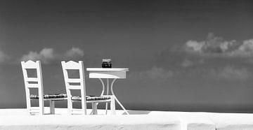 Tafel voor twee, in zwart-wit