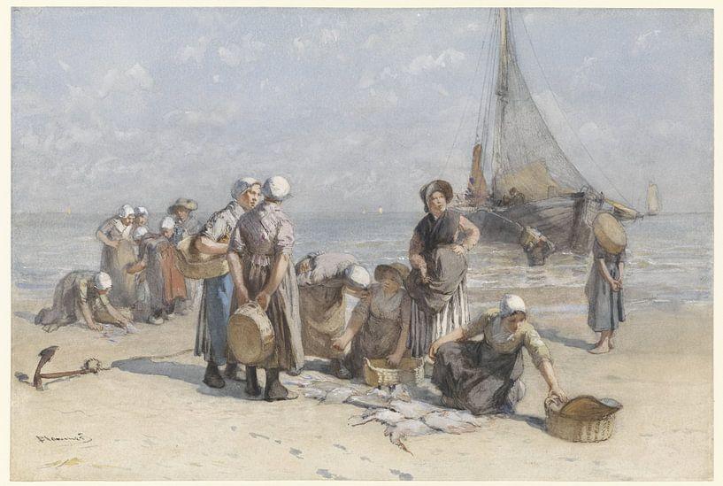Vissersvrouwen op het Scheveningse strand, Bernardus Johannes Blommers, ca. 1880 - ca. 1885 van Hollandse Meesters