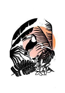 Linoprint Tukan im Dschungel von Goed Blauw