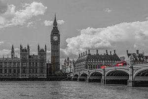 Londen foto - Skyline met rode bussen - 2