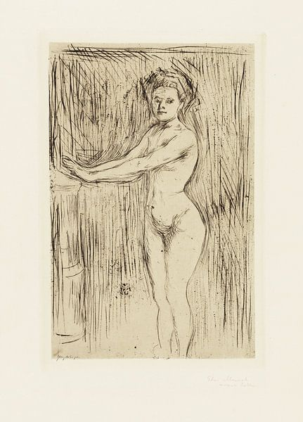 Weibliches Modell wärmt ihre Hände, EDVARD MUNCH, 1896 von Atelier Liesjes