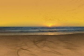 Coucher de soleil - Côte - Stand - Horizon - Lever de soleil - Peinture