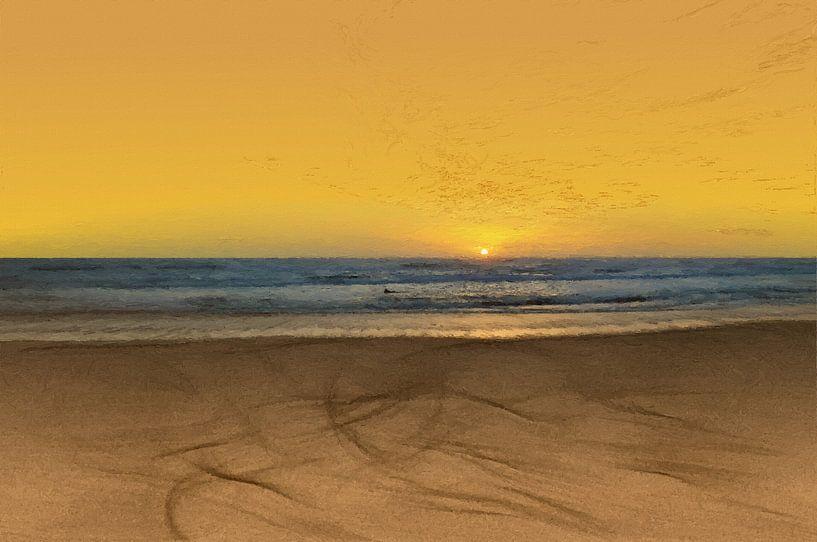 Zonsondergang - Kust -Stand - Horizon - Zonsopkomst - Schilderij van Schildersatelier van der Ven