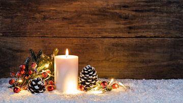 Kerstmis houten achtergrond met feestelijk licht van Alex Winter