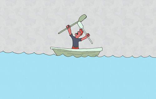 Illustratie van boze man in roeiboot