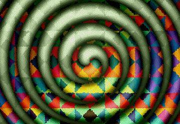 Mosaïque en spirale avec du vert