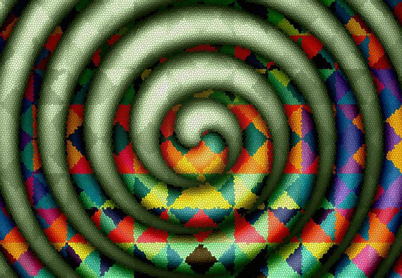 Mosaïque en spirale avec du vert sur Marion Tenbergen