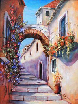 Mediterrane Bilder - Gasse gemalt von Marita Zacharias