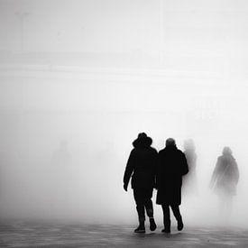 Mensen verdwijnen in de mist van Ton de Koning