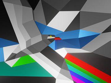 Rustiek abstract kleurrijk kunstwerk met een vogel en regenboog van Pat Bloom - Moderne 3d en abstracte kubistiche kunst