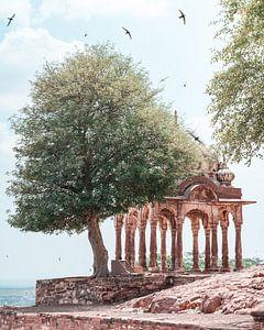 Rustgevend beeld voor de entree van het fort in Jodphur India. van Niels Rurenga