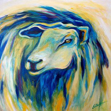 schilderij schaap in blauw van