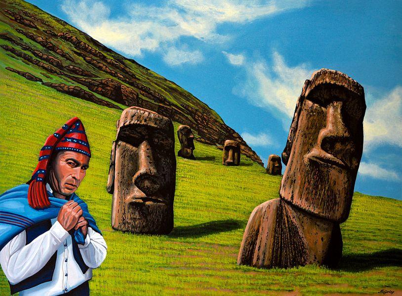 Moai op Chili Paaseiland van Paul Meijering