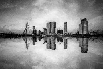 Rotterdam in schwarz-weiß | Digital von Digitale Schilderijen