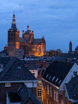 La belle église Sint Jan à Den Bosch pendant l'heure bleue. sur Jos Pannekoek